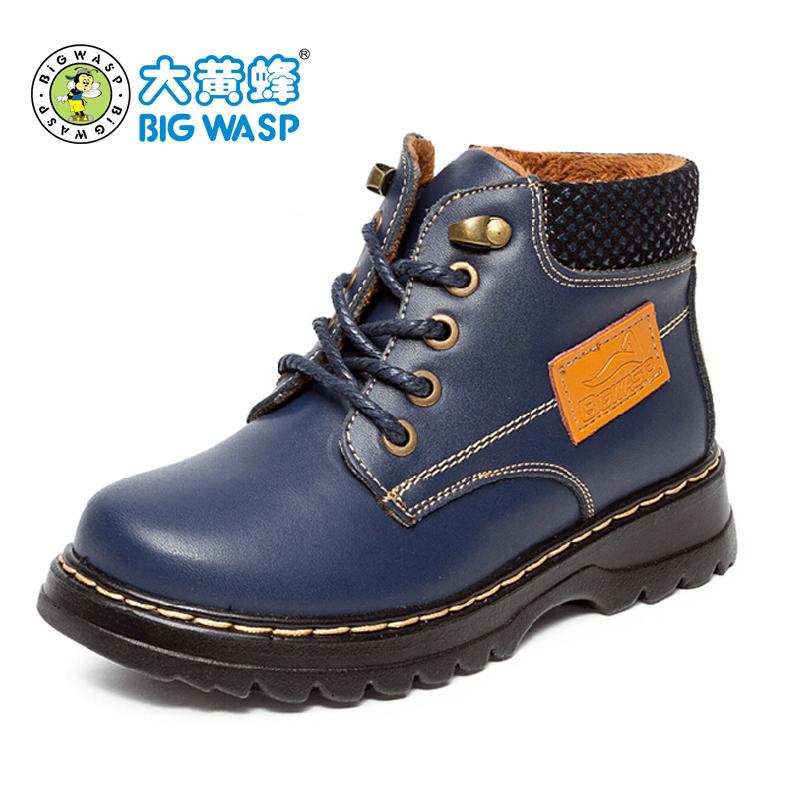 大黄蜂2014冬季新款男童皮鞋 加棉单鞋 真皮童鞋 防水儿童马丁靴