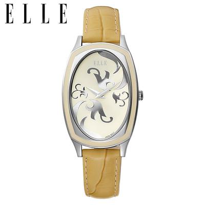 ELLE手表皮带女表女士石英表个性印花表盘真皮防水时装腕表正品潮