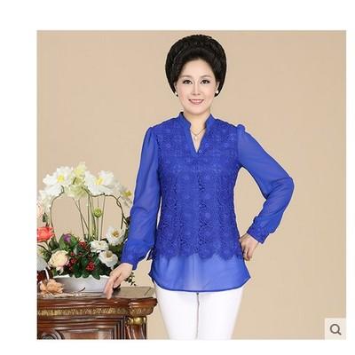 中老年女装夏装长袖T恤时尚妈妈装假两件套30-40-50岁中年人衣服