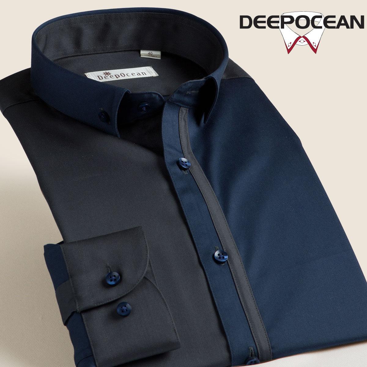 深海2017春季新款丝光棉拼接衬衣男士长袖衬衫韩版修身休闲免烫寸