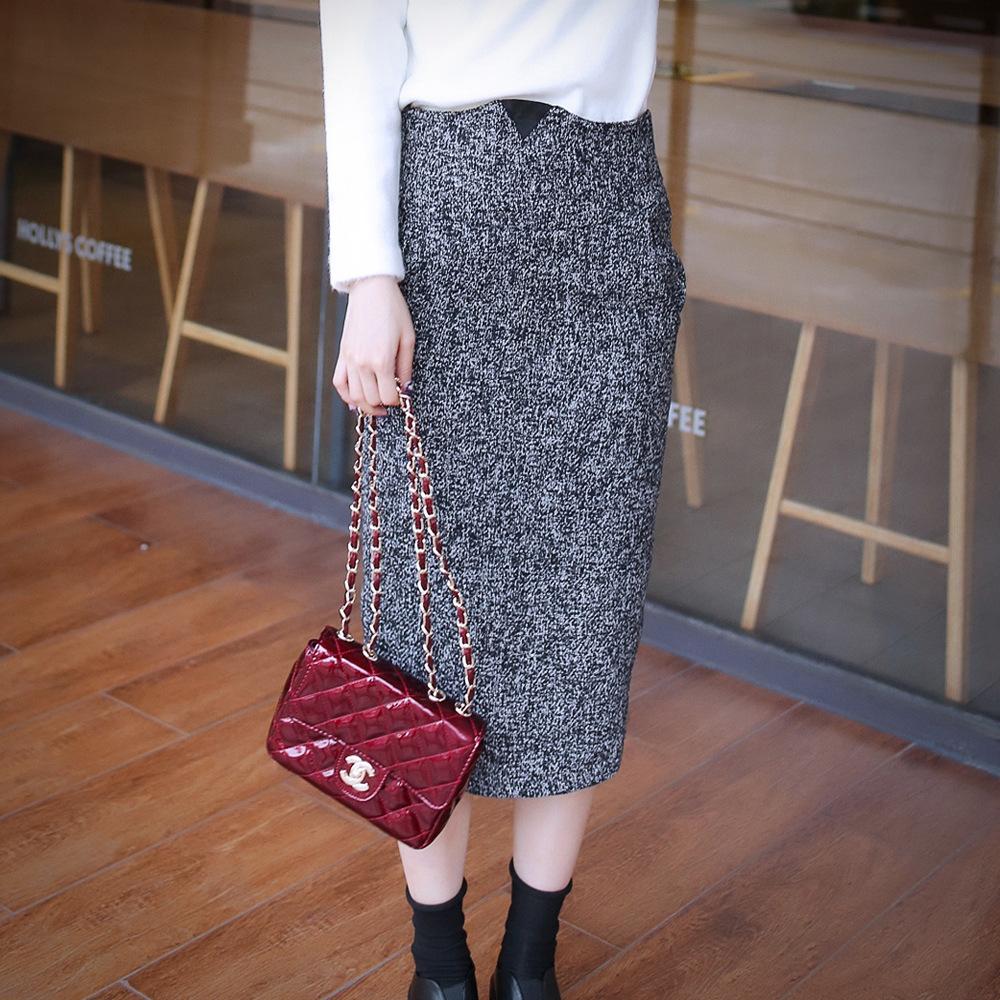 2014韩版女装 秋冬装时尚新款~加厚百搭高腰显瘦毛呢半身裙