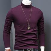 小衫 秋衣百搭春装 春秋款 修身 男装 T恤长袖 中半高领男士 纯色打底衫
