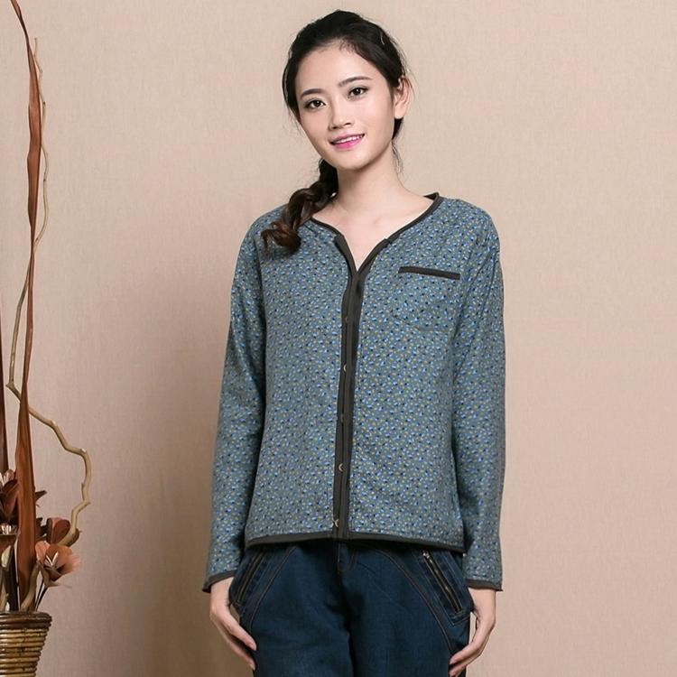 2014秋装新款斯琴风格宽松长袖双层纯棉衬衫原创设计女碎花衬衣