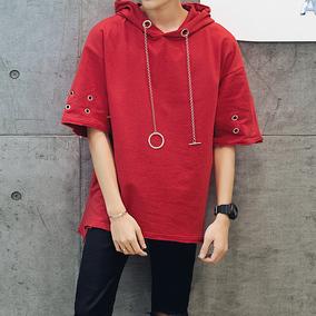 夏季新款青少年落肩袖时尚潮流卫衣男短袖五分袖带帽韩版学生衣服