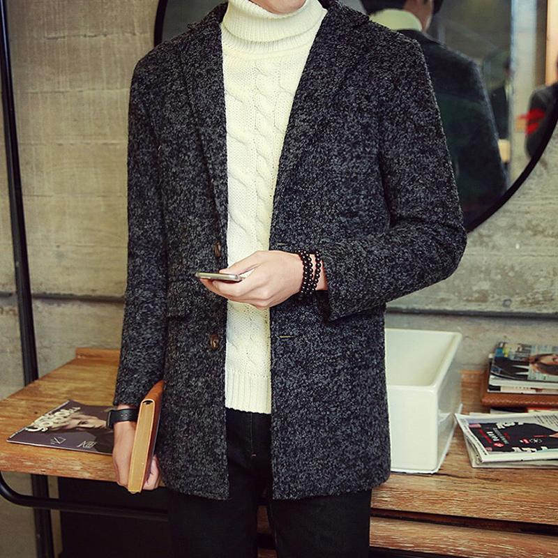 秋冬男士风衣韩版纯色修身毛呢外套中长款青年休闲男装毛呢大衣