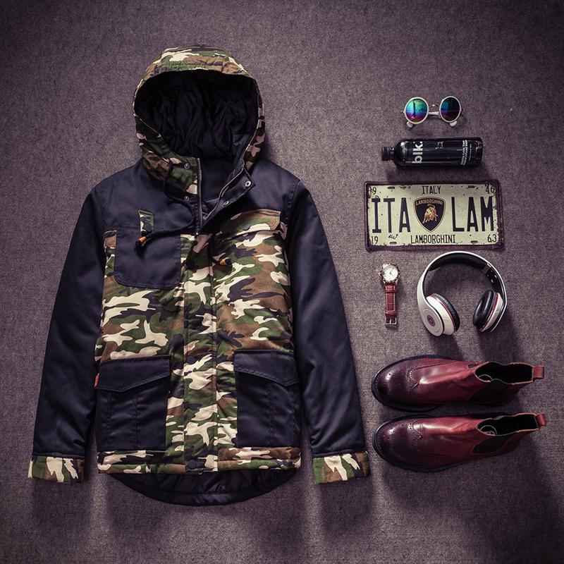 冬季新款男生棉衣 迷彩拼色牛仔棉衣连帽棉衣冲锋衣加厚加棉男