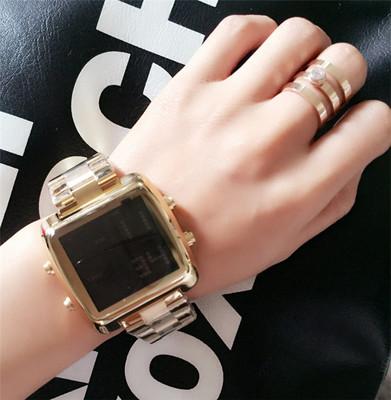 新款 韩国TT帅气钢带电子运动手表土豪金手表时尚黑色潮流男女腕