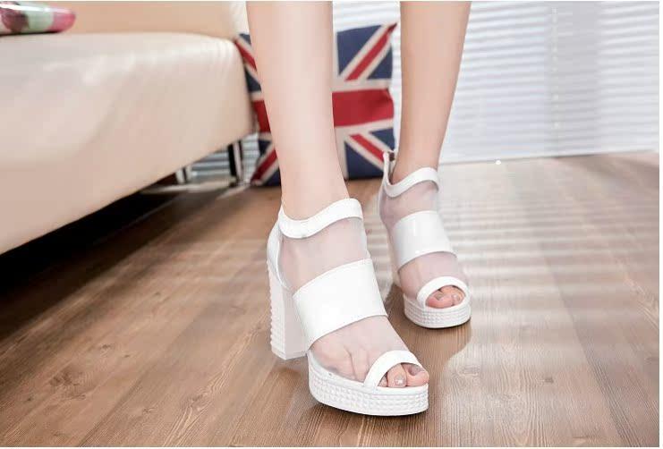 欧洲站2014春夏季新款欧美罗马鞋网纱粗跟高跟鱼嘴鞋亮跟凉鞋女鞋