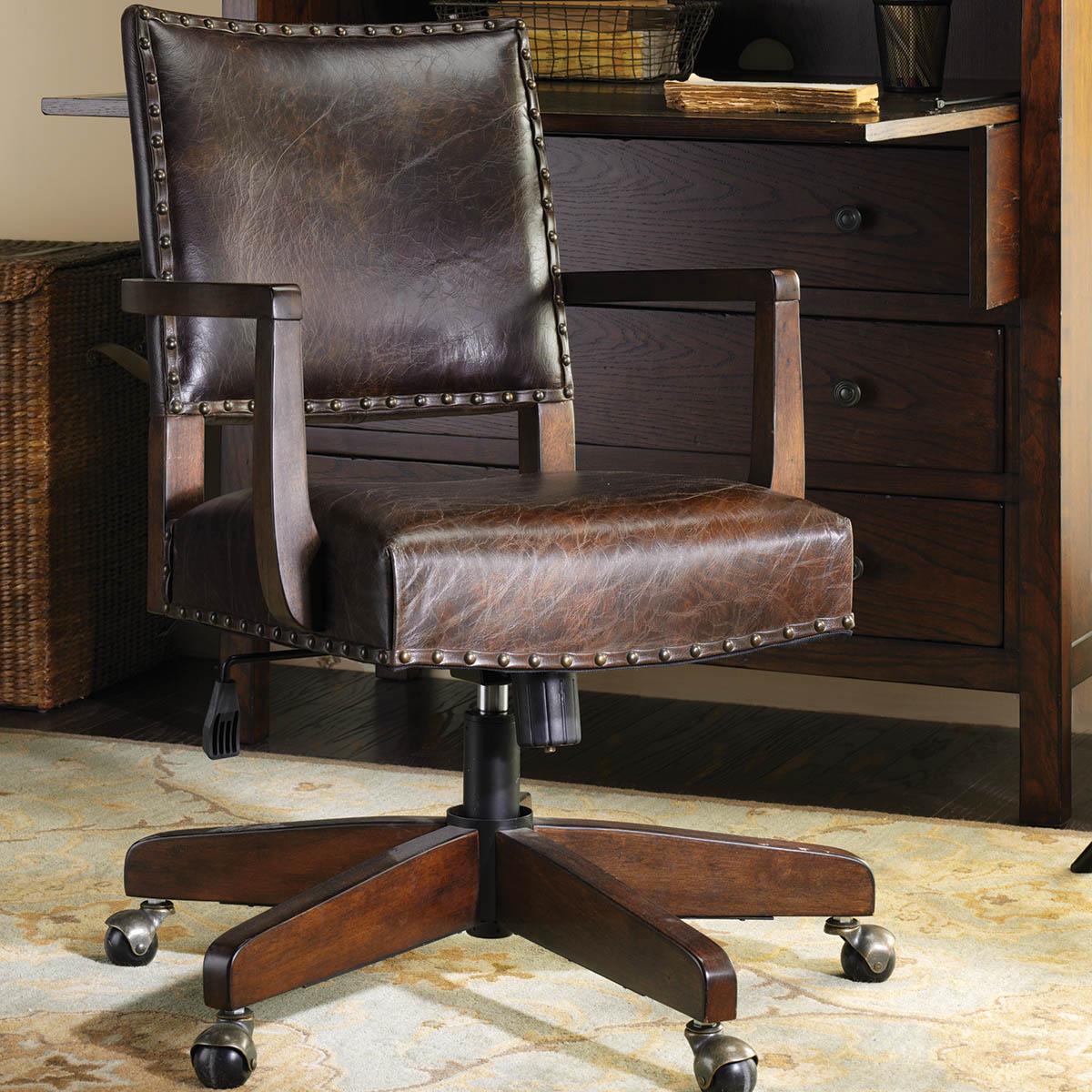 美式乡村书桌书椅实木电脑椅办公椅真皮椅子旋转椅
