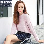 衣品天成 2017春装新款针织衫女圆领直筒纯色百搭毛衣女套头外套