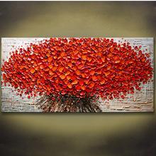新款纯手绘客厅卧室壁画 玄关装饰画抽象挂画手绘立体油画发财树