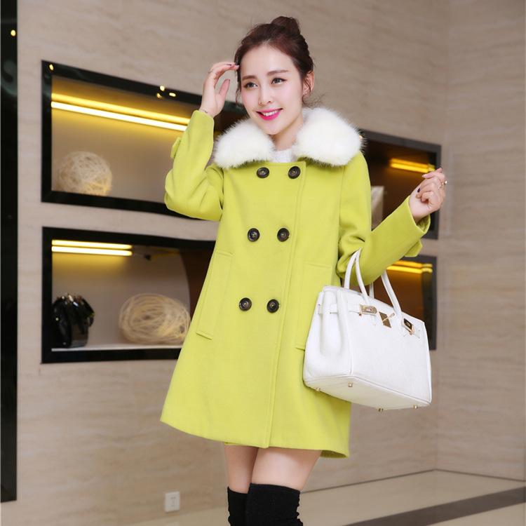 2014冬季新款中长款宽松显瘦女式毛呢大衣清新甜美范女式外套