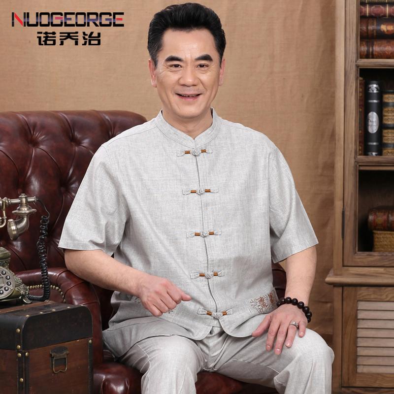 唐裝男士民族套裝亞麻男裝中老年夏季中式短袖爸爸