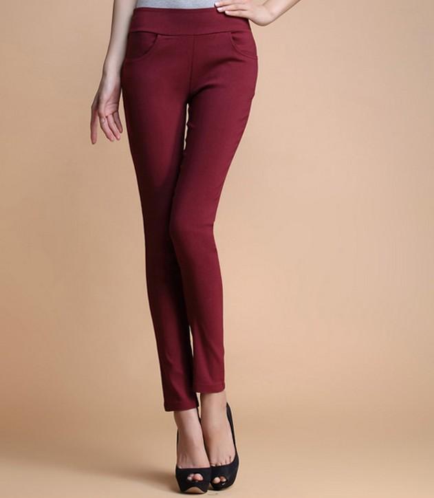 2014新款高腰女装大码四个口袋打底裤长裤子小脚铅笔裤显瘦外穿