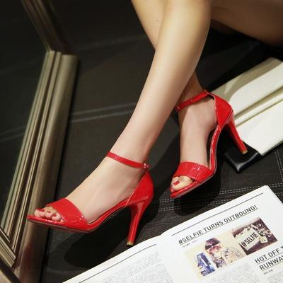 高跟新款脚环绑带鞋子露趾专柜优雅新品细跟夏季低帮大码女凉鞋