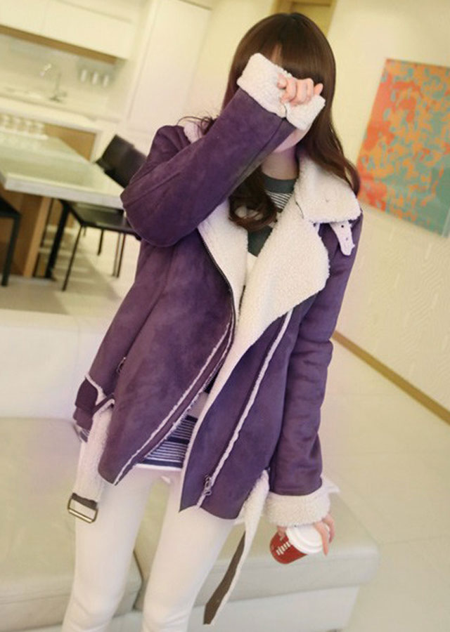 空灵之声2014冬季新款女装韩版中长款加厚鹿皮绒机车女式外套