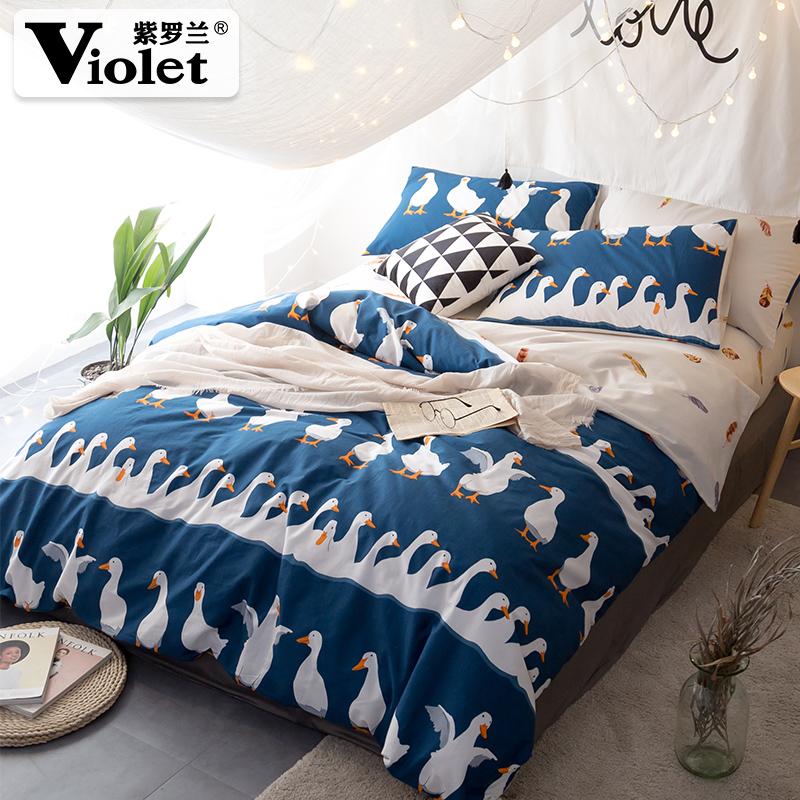 紫罗兰全棉床上用品长绒棉四件套纯棉1.8米2.0M床品床单被套