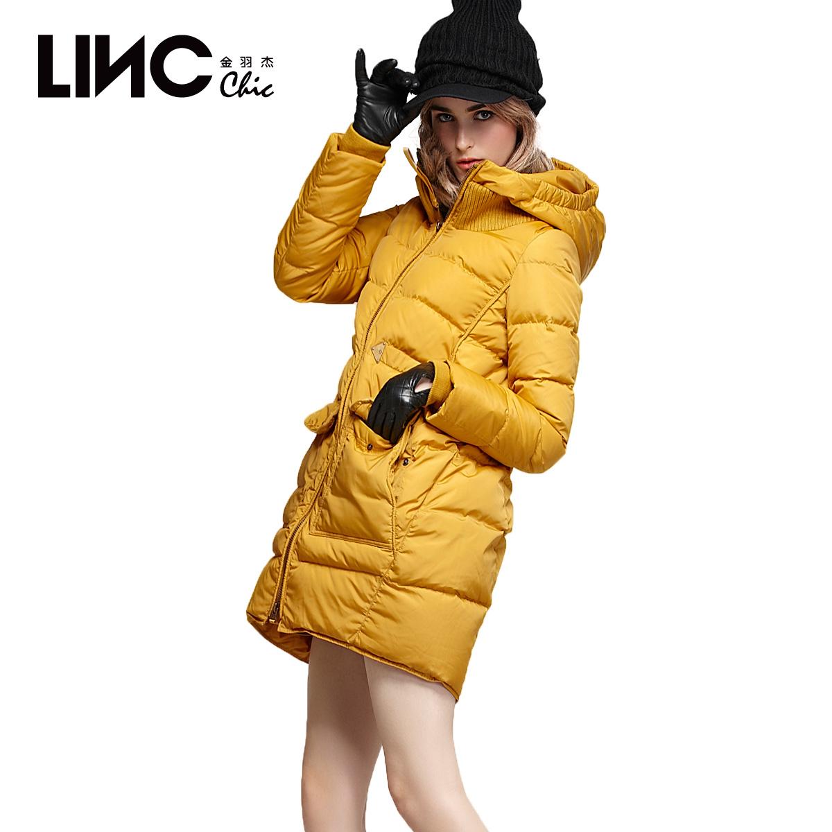 金羽杰2014冬装新款羽绒服 女中长款 韩版连帽工装外套加厚183916