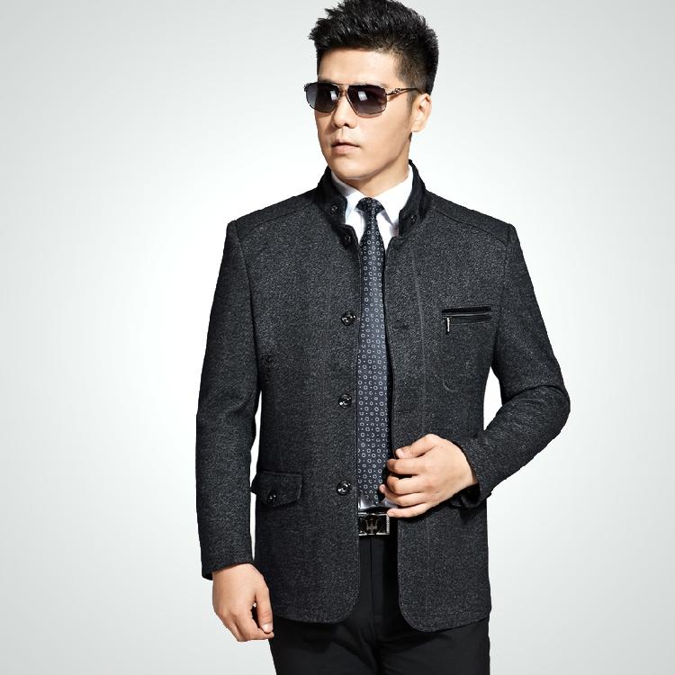 奢华新款秋冬品牌男装羊绒夹克 中年男士商务休闲立领羊绒夹克衫
