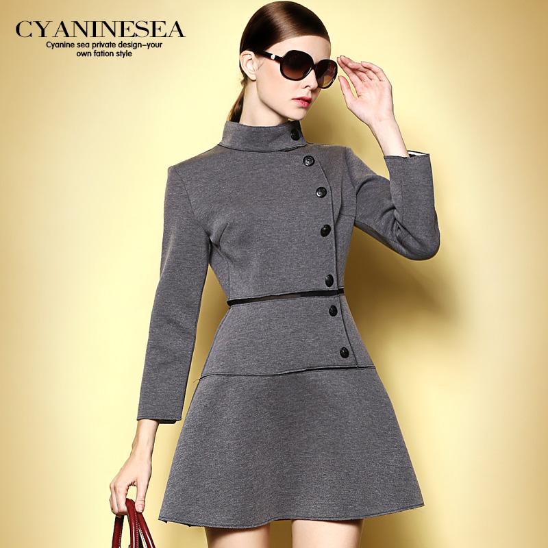 海青蓝2014秋装新款欧美职业风大牌立领修身显瘦品牌英伦连衣裙