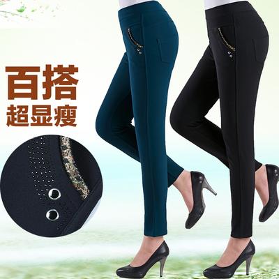 妈妈装春装裤子修身长裤外穿中老年女裤女装高腰妈妈裤中年小脚裤
