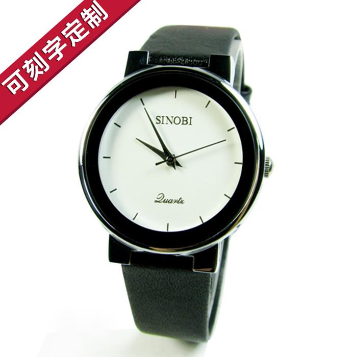 可刻字时诺比品质手表男女士情侣韩国潮流简约时尚学生皮带复古表