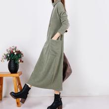 文艺范秋冬季新款针织连衣裙加厚高领显瘦气质长裙宽松打底冬裙子