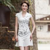 旗袍裙连衣裙 复古中国风刺绣唐装 2016夏装 钉珠短袖 新款 民族风女装