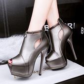 罗马女士凉靴 细跟性感凉鞋 鱼嘴高跟鞋 女鞋 防水台单鞋 2016春季新款