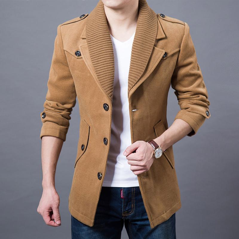 男士外套韩版修身风衣英伦呢子大衣2014秋冬季男装羊毛呢大衣