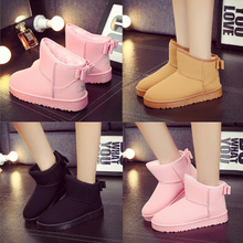 女靴 平底短筒短靴防水加绒加厚保暖棉鞋 新款 冬季雪地靴磨砂潮女鞋图片