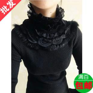 蘑菇街2014秋冬新款韩版潮范女装百搭修身蕾丝高领毛衣打底针织衫