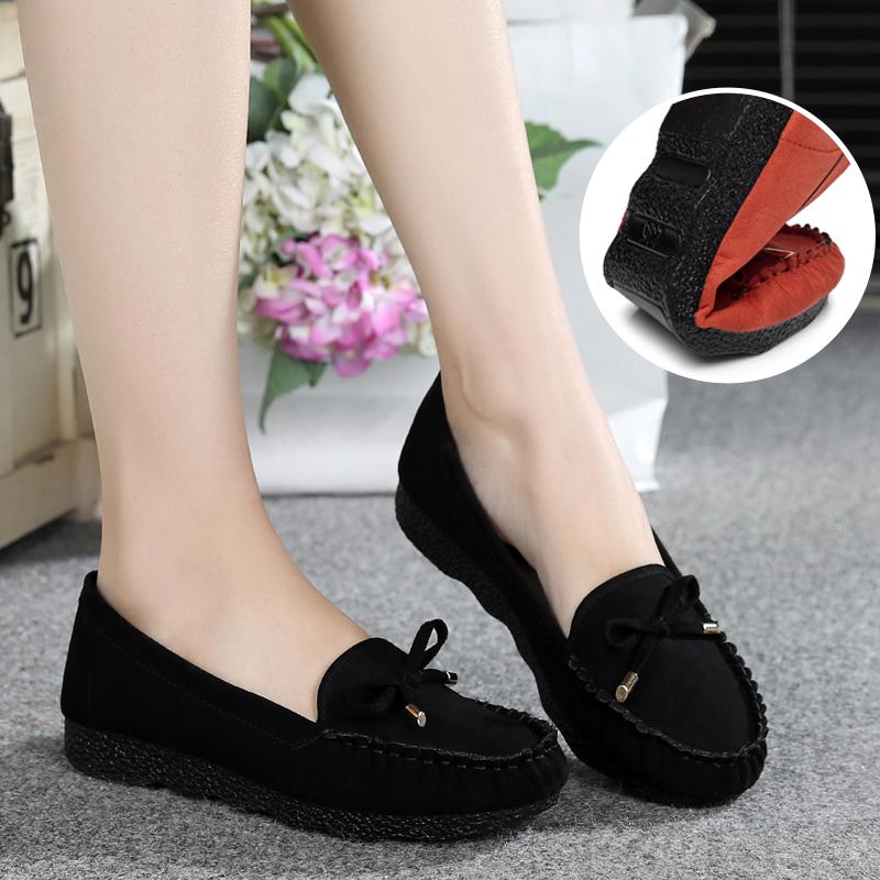 休闲女鞋单鞋工作豆豆老北京妈妈鞋子布鞋孕妇春季平底