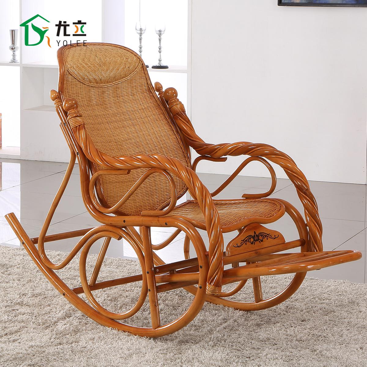尤立藤摇摇椅躺椅折叠椅午休椅阳台逍遥椅印尼天然藤椅子藤摇椅