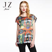 针织上衣 时尚 玖姿女装 绚丽印花短袖 专柜高端2016夏装 JUZUI