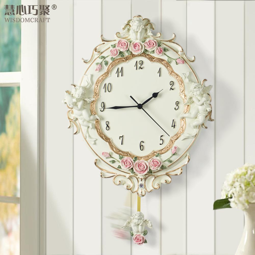 慧心巧聚欧式田园时钟壁钟浪漫天使树脂静音摇摆客厅创意艺术挂钟