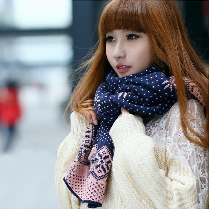 新款韩版秋冬款保暖雪花毛线围巾双面针织披肩女士加厚围巾包邮