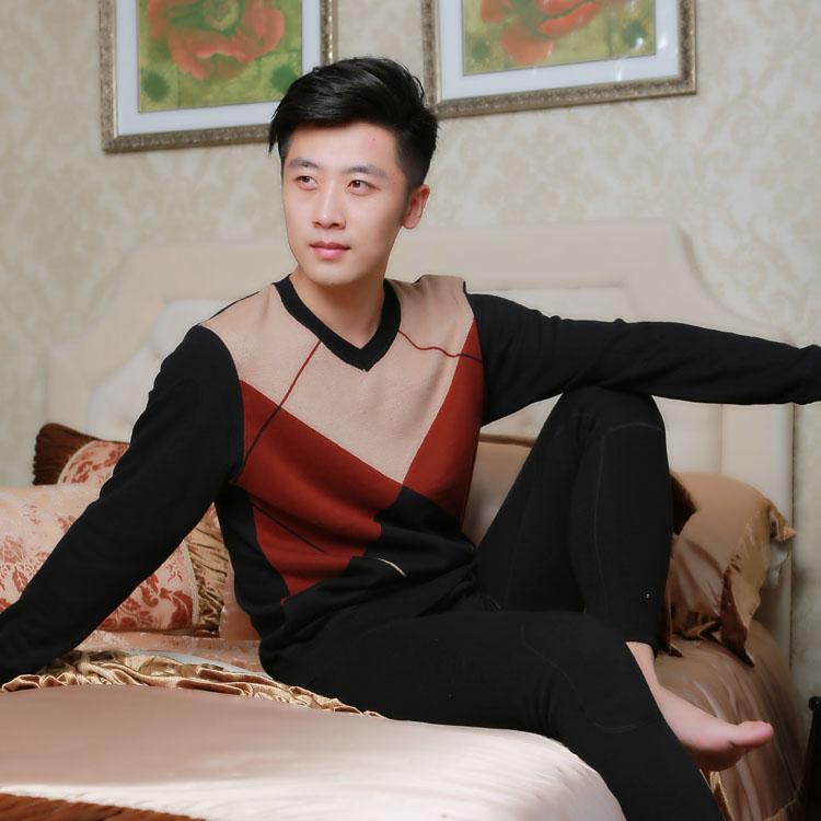 青年男士保暖内衣加厚加绒男套装长裤冬V领针织学生韩版外穿包邮