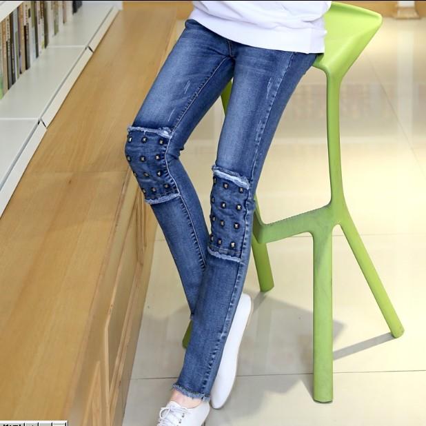 RY~W226孕妇装 韩版铆钉牛仔托腹裤 春装 新品孕妇长裤