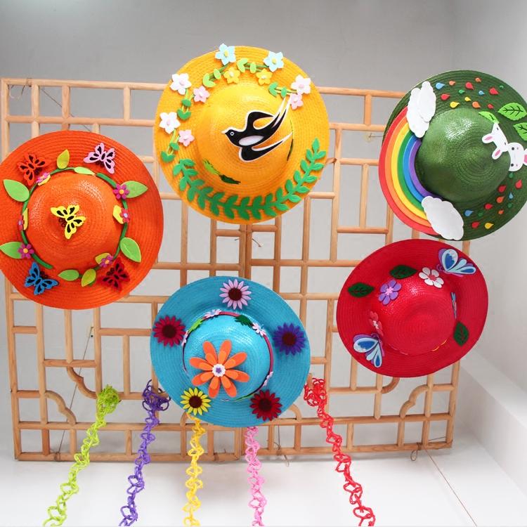 手工编织草帽韩国幼儿园创意空中吊饰diy美术绘画