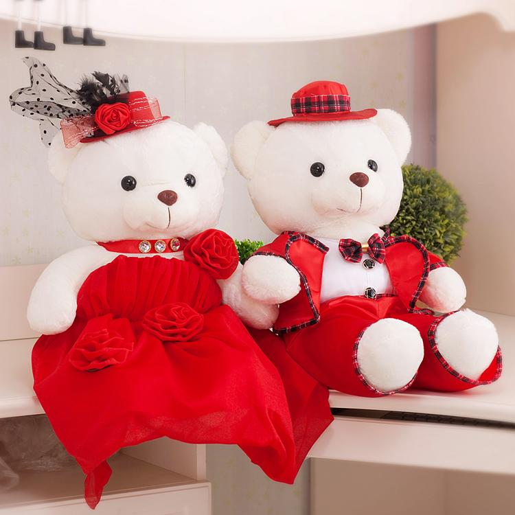 结婚礼物新婚压床娃娃一对婚庆毛绒玩具大号情侣婚纱熊婚礼泰迪熊
