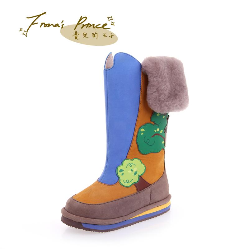 费儿的王子 男女童靴子长筒靴单靴儿童雪地靴冬靴皮靴