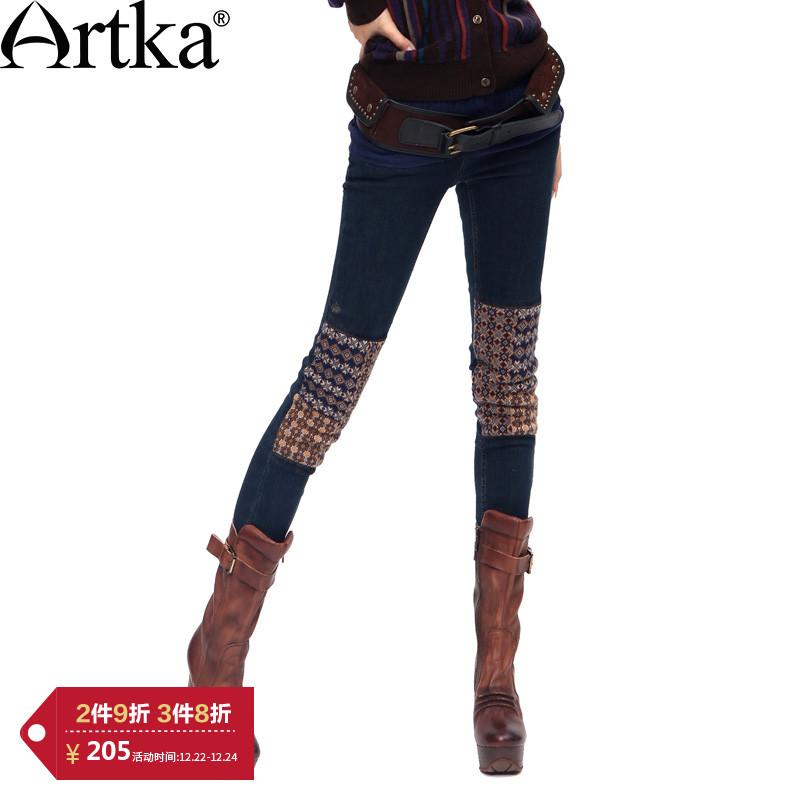 【3件8折】阿卡印第安秋季复古修身弹力加绒小脚牛仔裤女K810053D