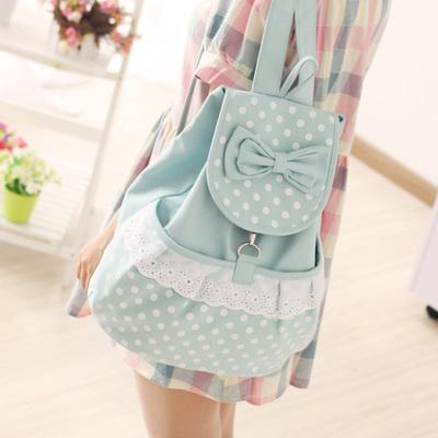 帆布双肩包女韩版潮 可爱书包中学生帆布包包女包学院风日系背包
