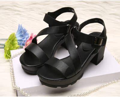 特价正品百丽晴2015夏季新款女鞋高跟粗跟防水台松糕厚底女士凉鞋