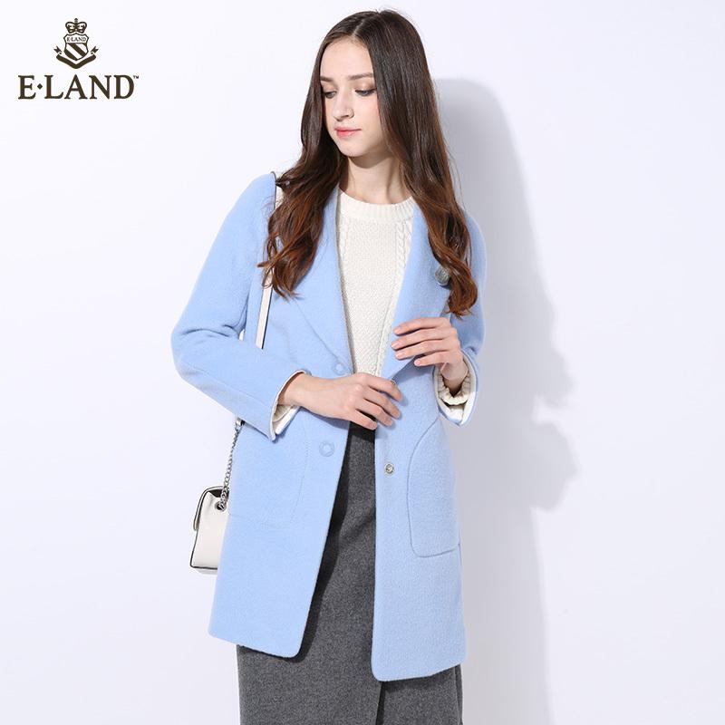 ELAND16年秋冬新品清新浅蓝直筒毛呢外套EEJW64T06A专柜正品