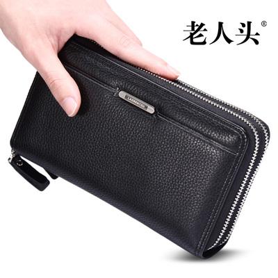 [手机更优惠] 老人头2015新款手包男真皮软皮大容量商务包头层牛皮多卡位手抓包