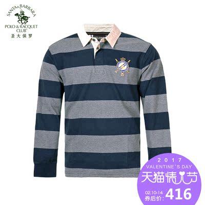 圣大保罗 男装纯棉条纹商务休闲长袖T恤宽松polo衫男士PW13KT110