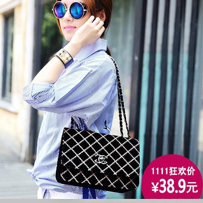 2015春季新款韩版时尚女包磨砂皮菱格纹小包包女链条包单肩斜跨包