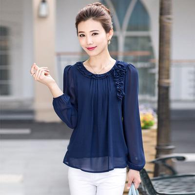 [限时抢购] 中老年女装妈妈装长袖雪纺衫2015夏季新款韩版显瘦大码T恤小衫女